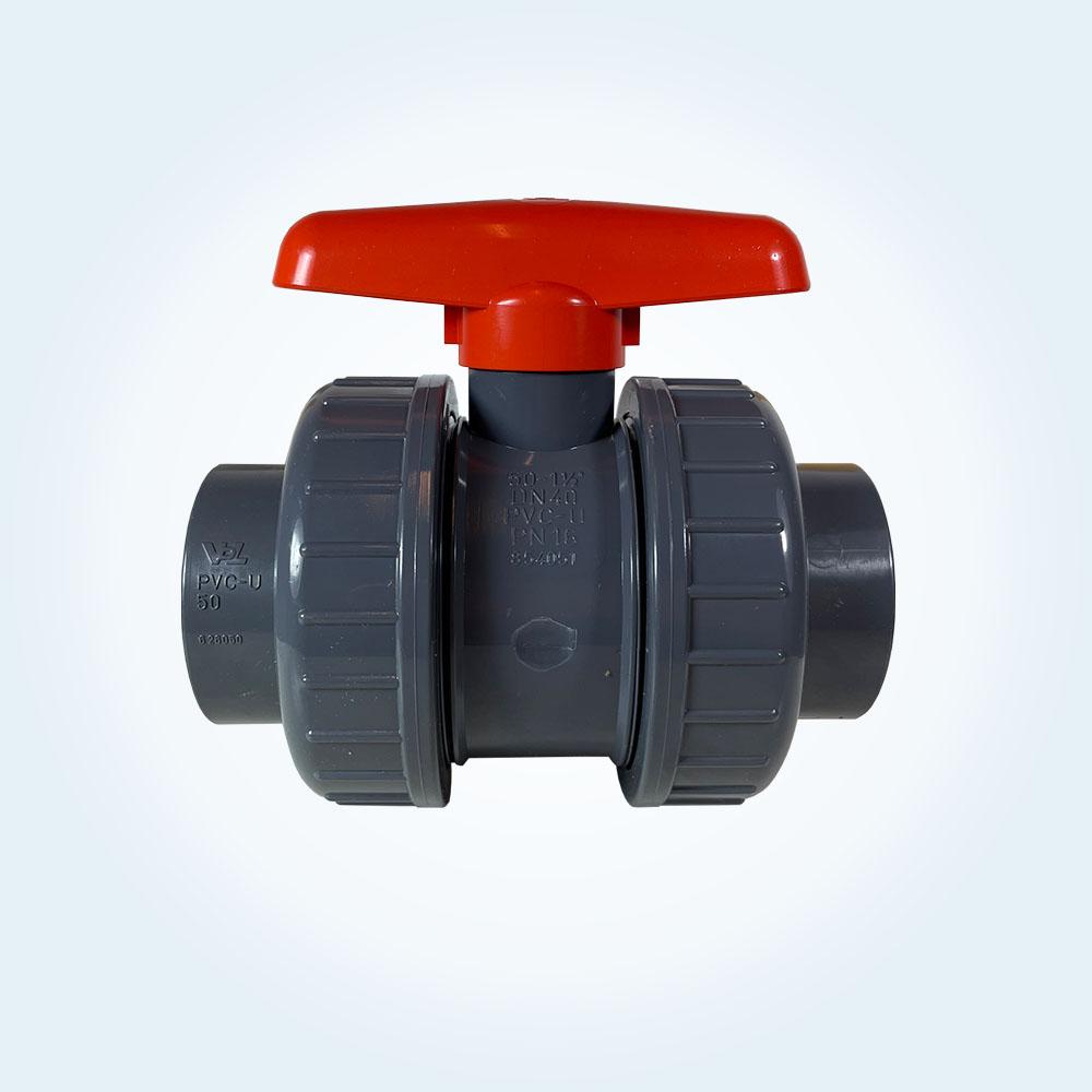 Kulventil i PVC för limning, 2-vägs, 50 mm (Procopi))