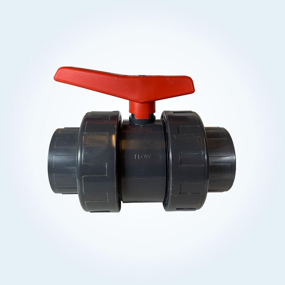 Kulventil i PVC för limning, 2-vägs, 63 mm