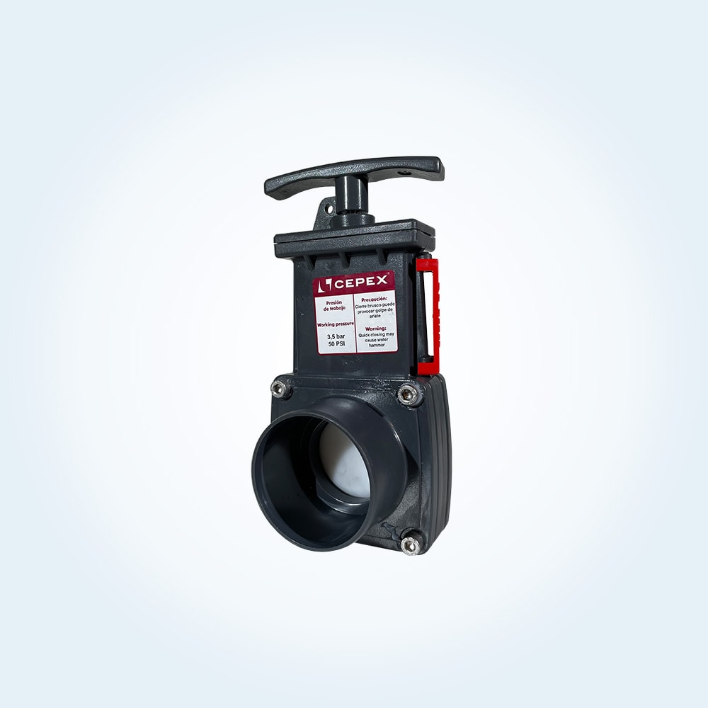Portventil i PVC för limning, 50 mm
