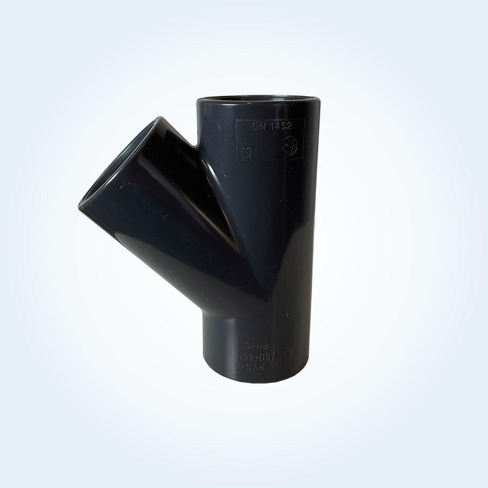 Tryckrör, Y-rör, i PVC, 45 grader, 50 mm