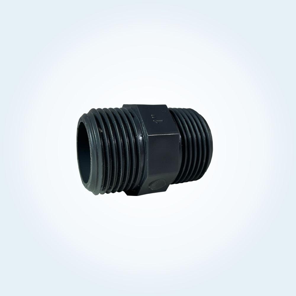 Tryckrör i PVC, dubbelnippel, 1 tum gänga