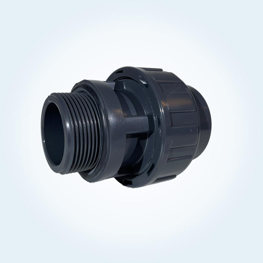 Tryckrör unionkoppling i PVC, 50 mm x 1 1/2 tum (utvändig))