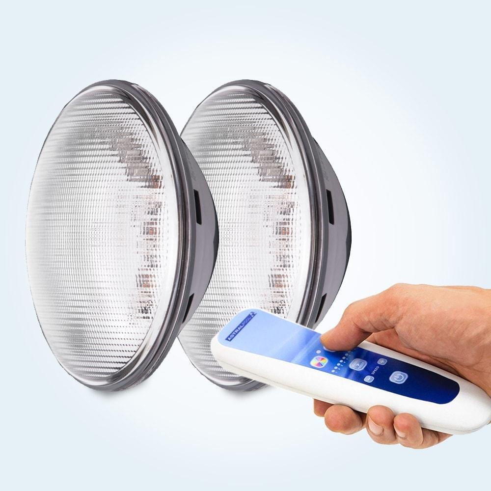 LED-lampa, PAR 56, 2 st RGB (flera färger) med fjärrkontroll