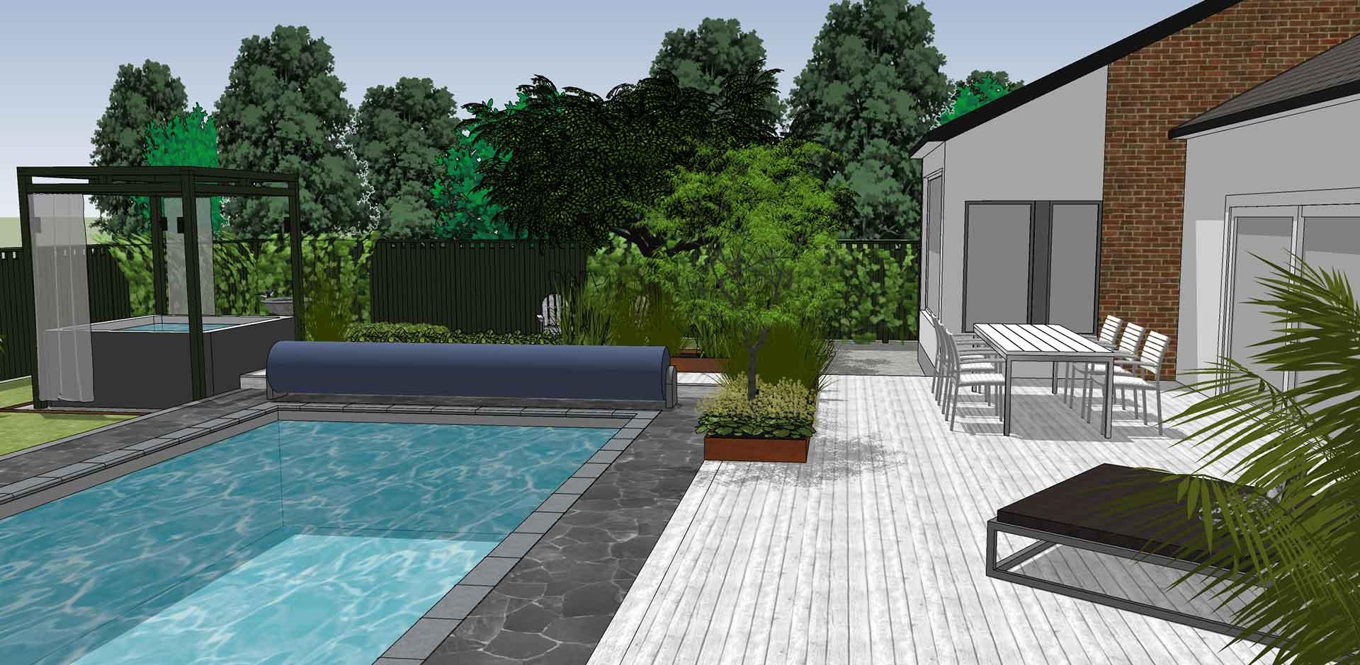 Wikipool, Skapa en oas, ritning över pool och trädäck, Pool store