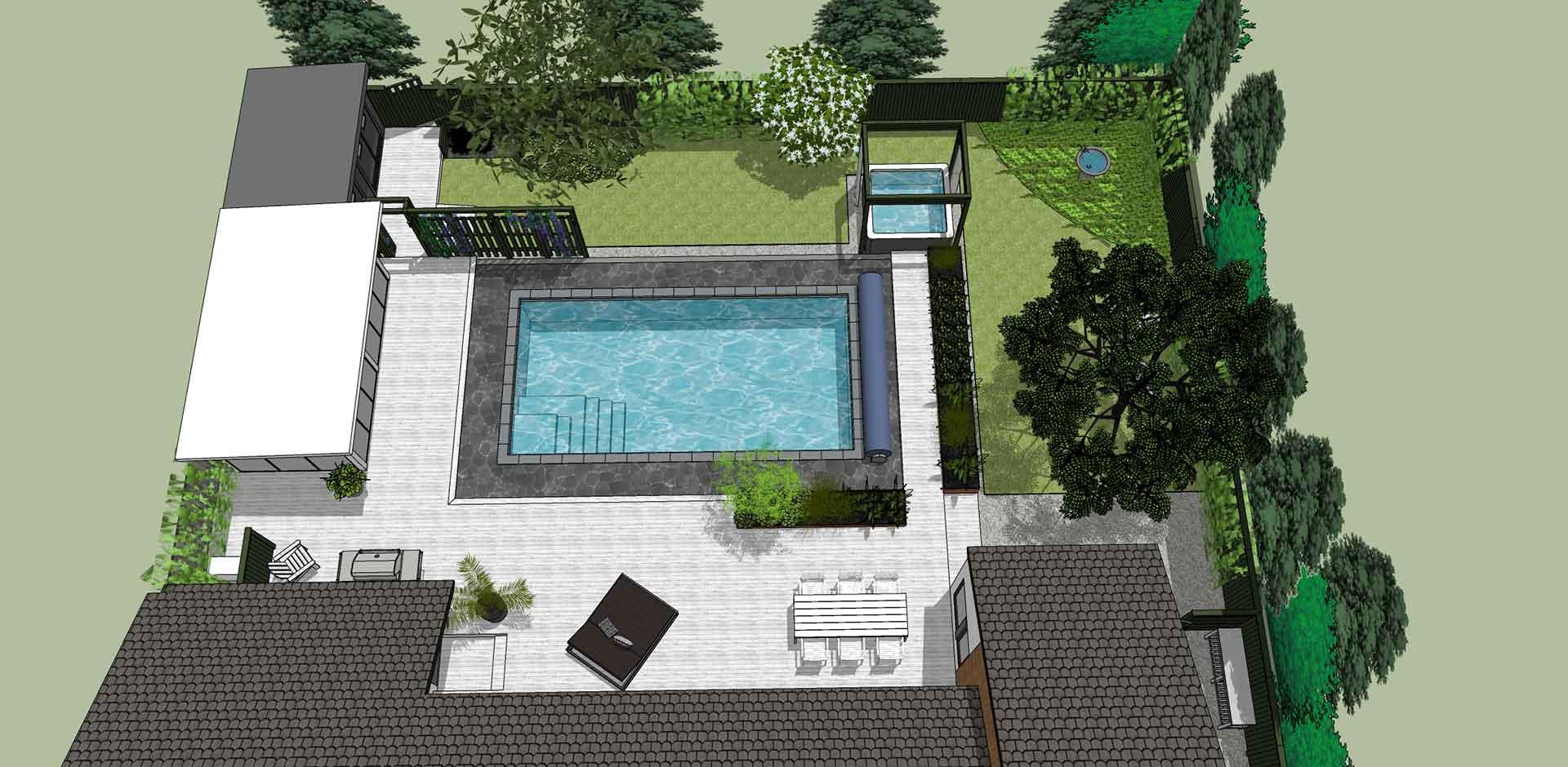 Wikipool, Skapa en oas, ritning över trädgård, Pool store