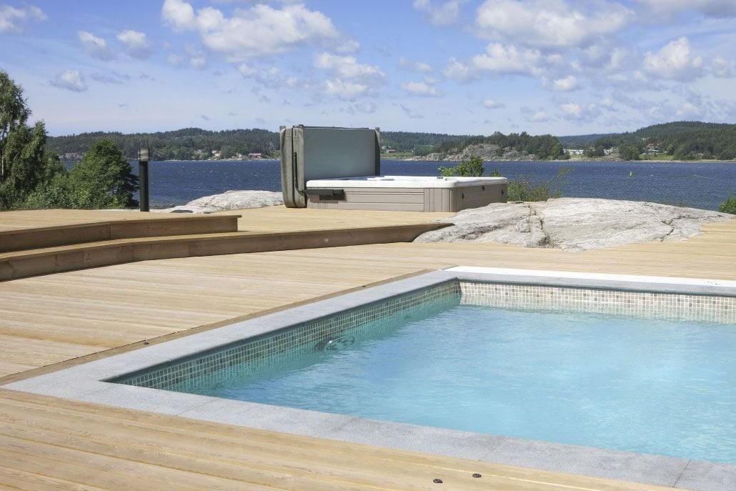 Wikipool, Poolstories, Pool och spabad med havsutsikt, Pool Store
